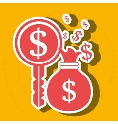 Bag money dollar key vector