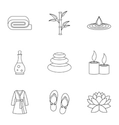 Beauty salon icons set outline style vector