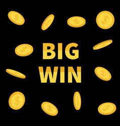 Big win banner golden text with flying dollar vector