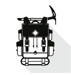 Black flat backpack and axe icon with long shadow vector
