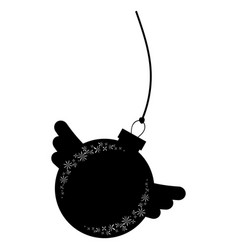 Black isolated silhouette of christmas tree toy vector