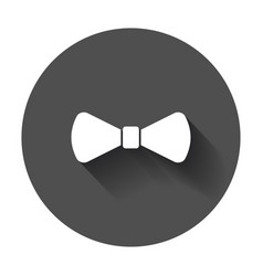 Bow tie flat icon necktie with long shadow vector