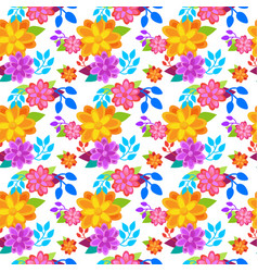 bright flowers background seamless pattern spring vector image
