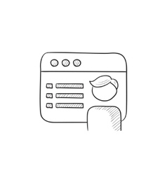 Browser window with page sketch icon vector image