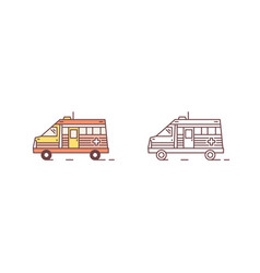 bundle colorful and monochrome ambulance motor vector image
