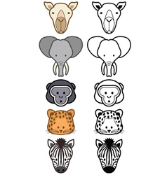 cartoon zoo animals set vector image