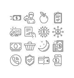 Checklist phone payment and money transfer icons vector