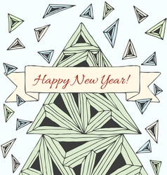 Christmas card made by hand drawn triangles vector image