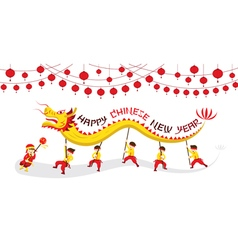 CNY Dragon Dancing Panorama vector