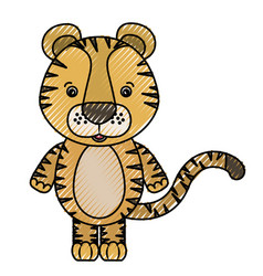 color crayon silhouette caricature cute tiger vector image