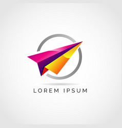 colorful paper plane logo symbol vector image