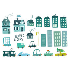 colorful set isolated car and house icons vector image