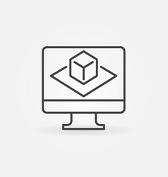 computer with augmented reality outline vector image