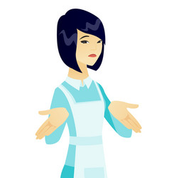 confused young asian cleaner shrugging shoulders vector image