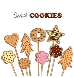 cookies on a wooden stick vector image