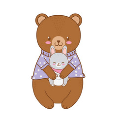 Cute bear and rabbit woodland character vector