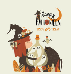 cute halloween witch holding bottle with ghosts vector image