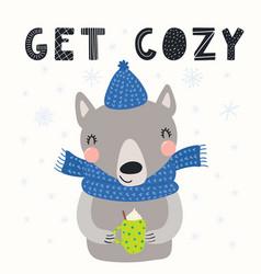 Cute wolf in winter vector