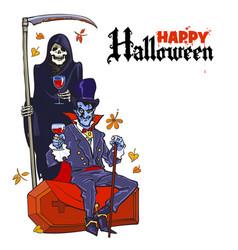 Death skeleton and dracula vampire halloween vector