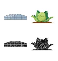 Design greenhouse and plant icon vector