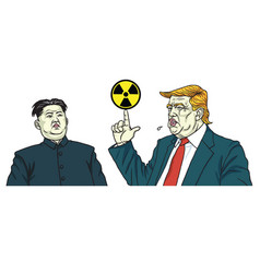 donald trump and kim jong un portrait vector image