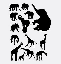 Elephant and giraffe animal silhouettes vector