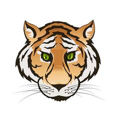 Emerald green eyes tiger portrait predator vector