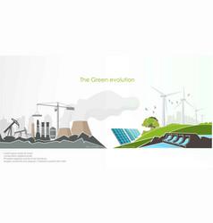 evolution renewable energy concept greening vector image
