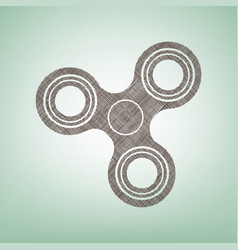 Fidget spinner sign brown flax icon on vector