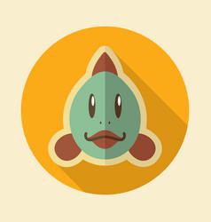 Fish flat icon animal head vector