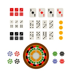 Flat top view set of gambling and casino items vector image