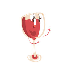 Funny glass of wine cartoon character element for vector