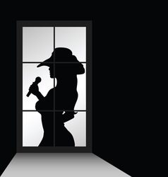 girl singer and window silhouette vector image