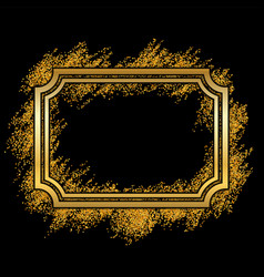 gold frame beautiful golden glitter design vector image
