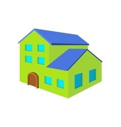 Green three-storey house cartoon icon vector