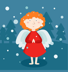 greeting card christmas card with christmas angel vector image