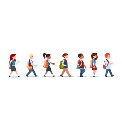 Group of pupils mix race walking school children vector