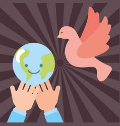 Hands with kawaii world peace pigeon flying vector
