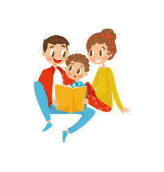 happy family reading book together vector image