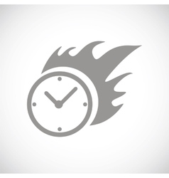 Hot clock black icon vector image