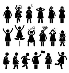 Human female girl woman action poses postures vector