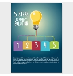 Infographic visualization with light buld Five vector image