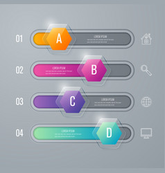Infographic with hexagons on the grey background vector
