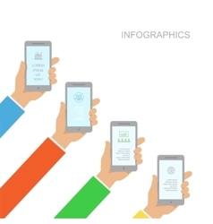 Infographics design with human hands holding vector