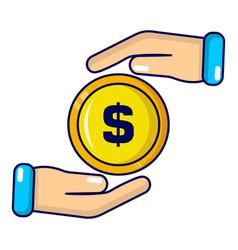insurance money icon cartoon style vector image