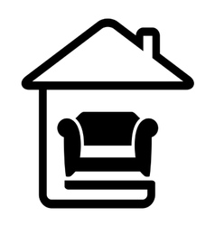 Interior icon with armchair on home vector