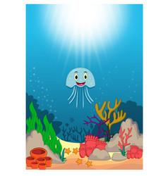 jellyfish in beautiful underwater world cartoon vector image
