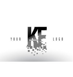 kf k f pixel letter logo with digital shattered vector image
