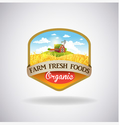label with the image of a farm vector image
