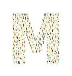 Large group people in letter m form people vector